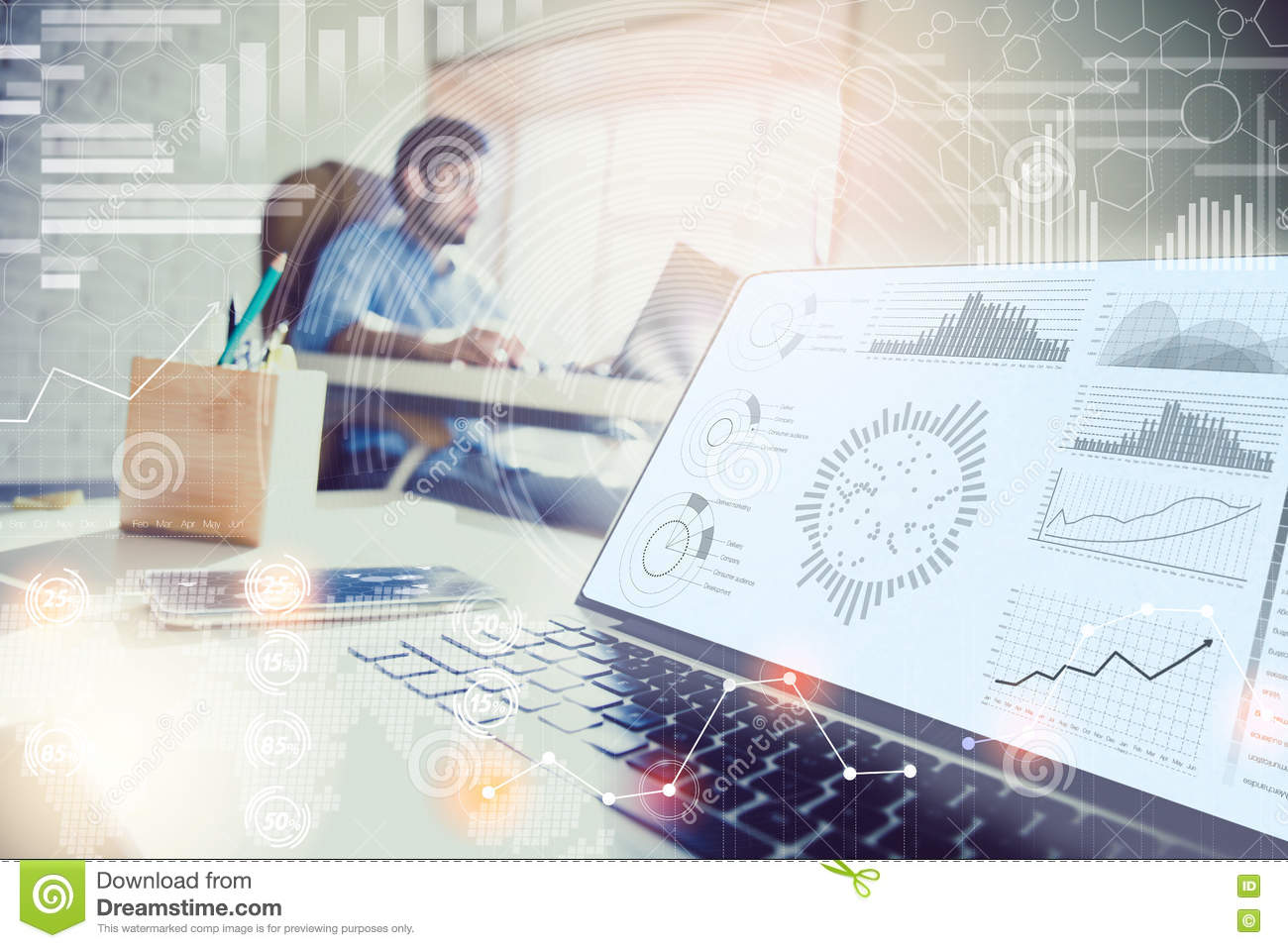 Double Exposure Businessman Working In Modern Office With Modern