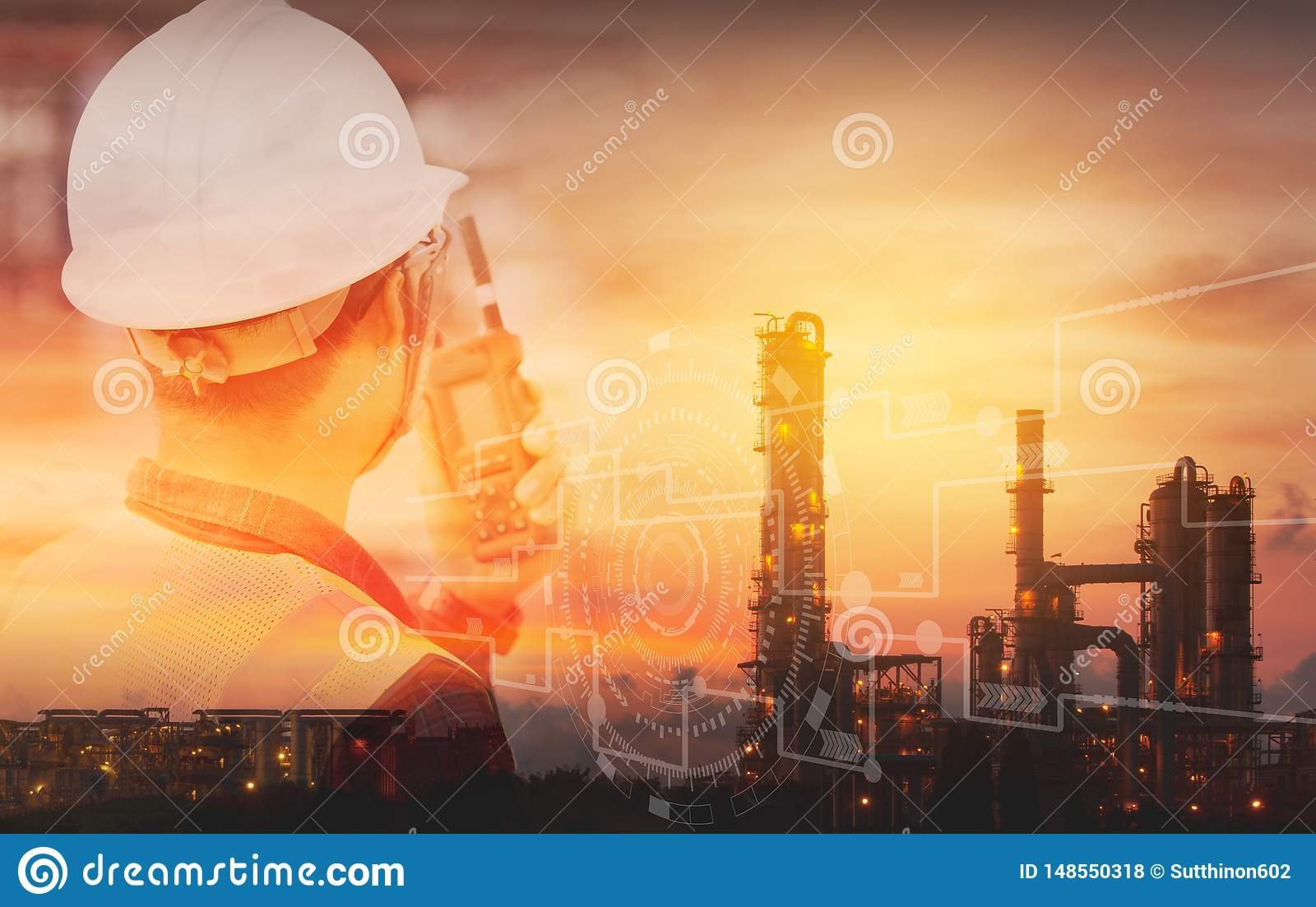 Double exposure of Engineer with safety helmet with oil refinery industry plant background. Industrial instruments in the factory