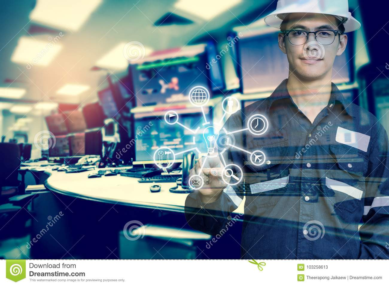 Double Exposure Of Engineer Or Technician Man With Business