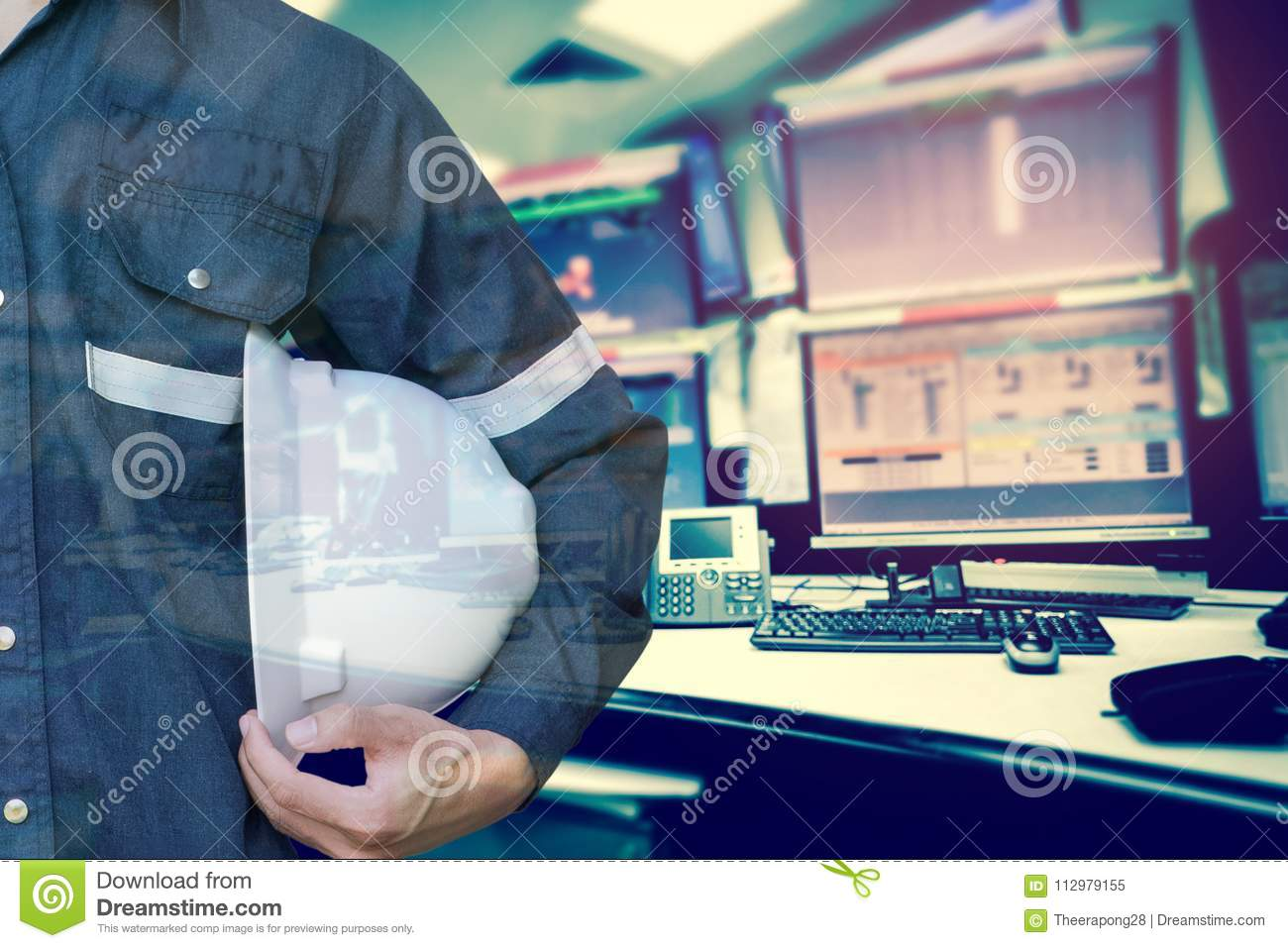 Double exposure of Engineer or Technician man holding safety hat