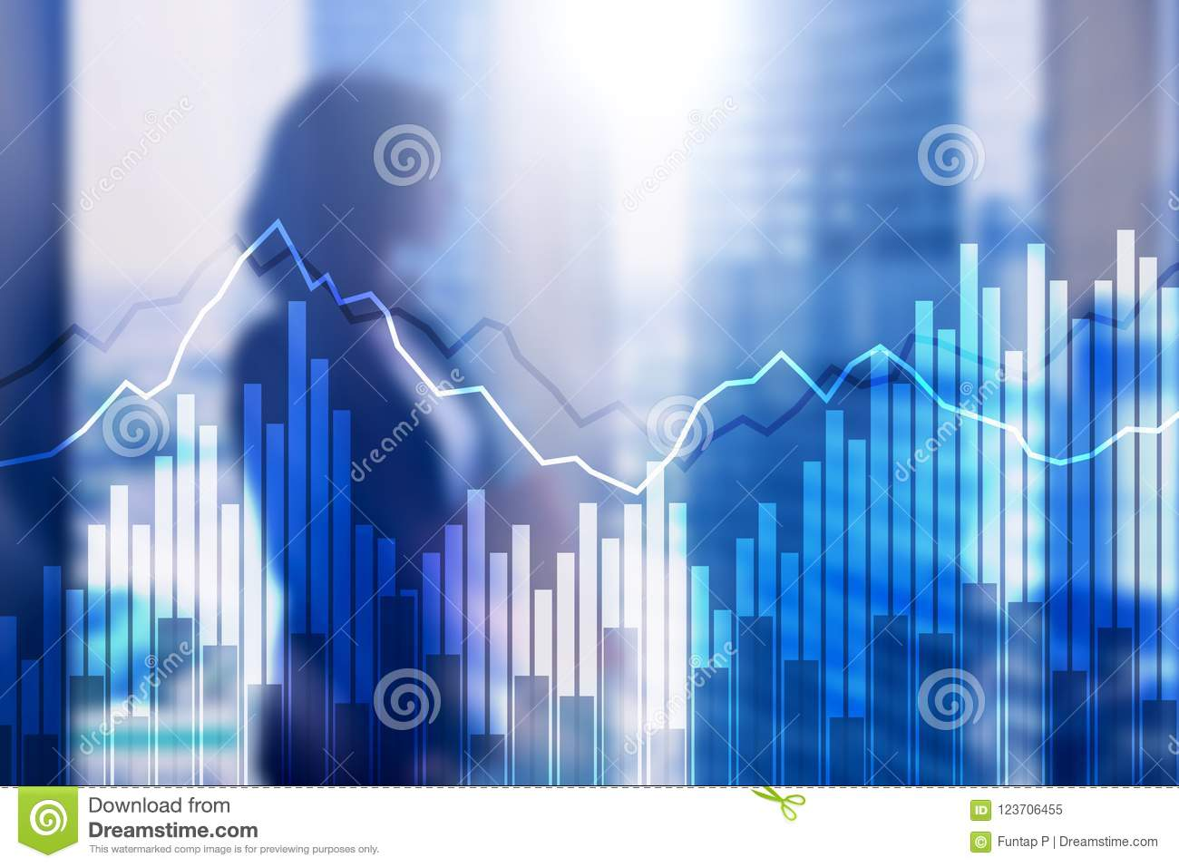 Double exposure Financial graphs and diagrams. Business, economics and investment concept