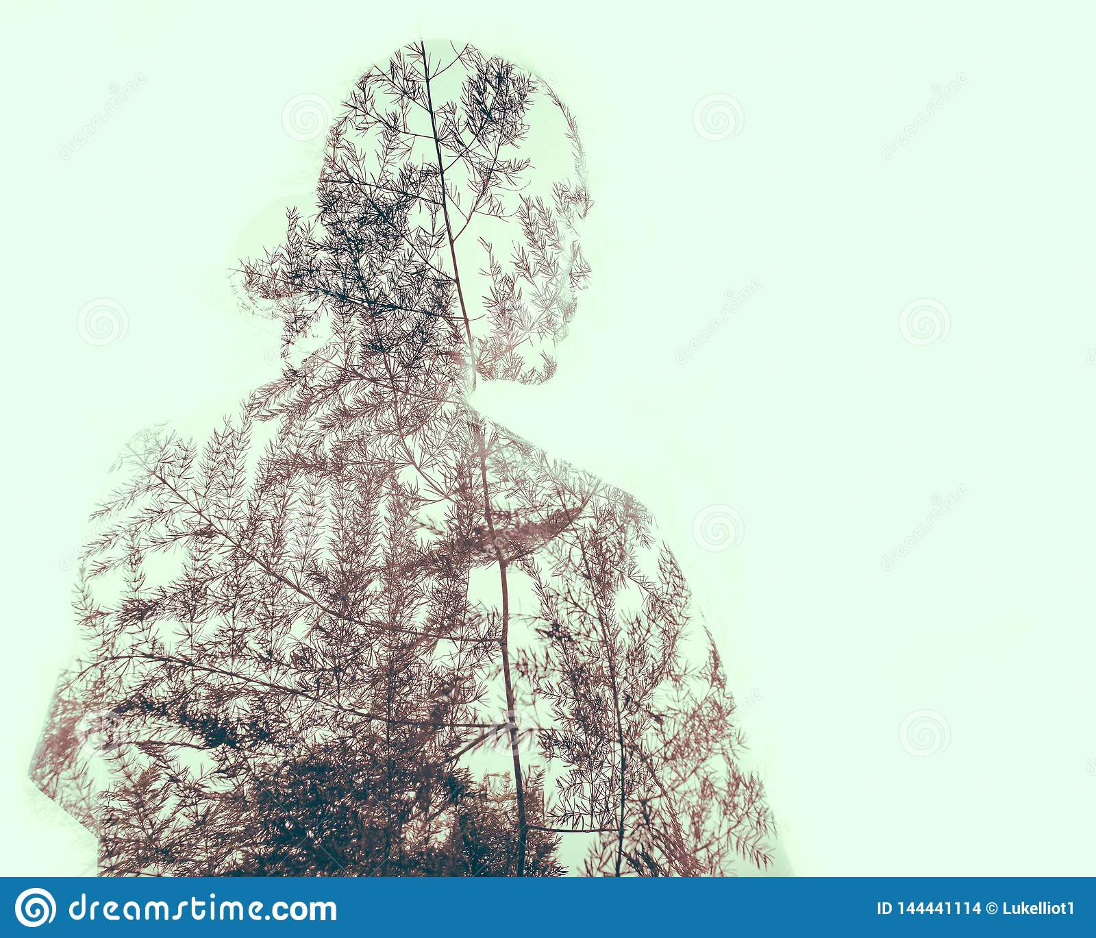 Double exposure of human with nature patterns