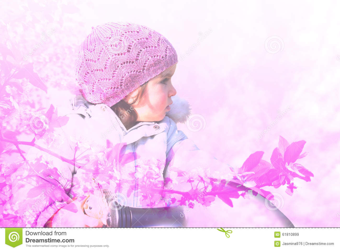 A Portrait Of Little Girl Wearing Pink Cap Stock Image ...