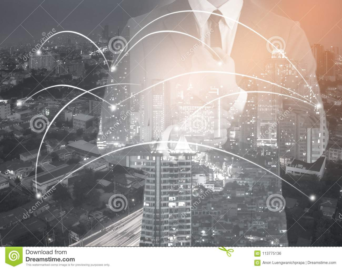 Double exposure of network and city and network connection conc