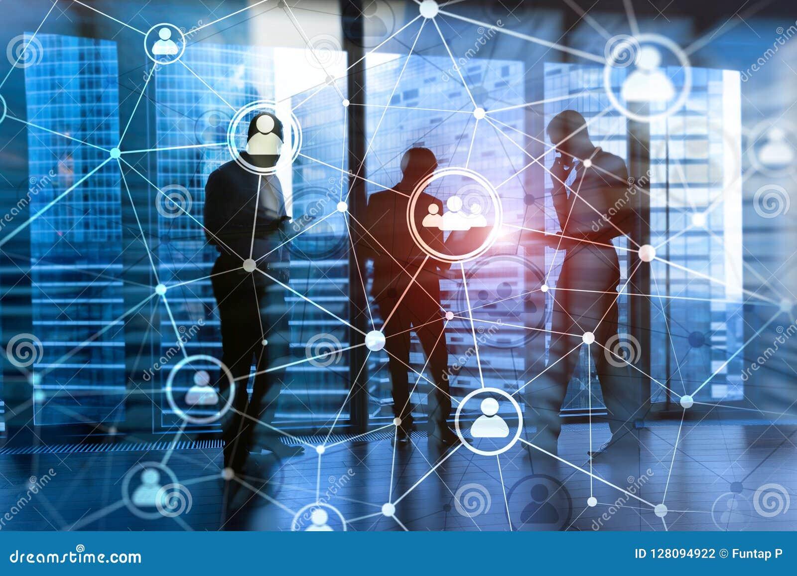 Double exposure people network structureþþ HR - Human resources management and recruitment concept