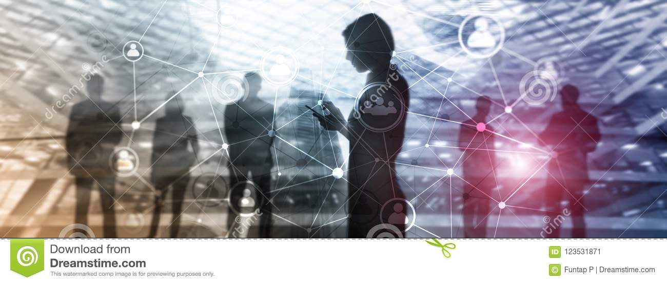 Double exposure people network structure. HR - Human resources management and recruitment concept