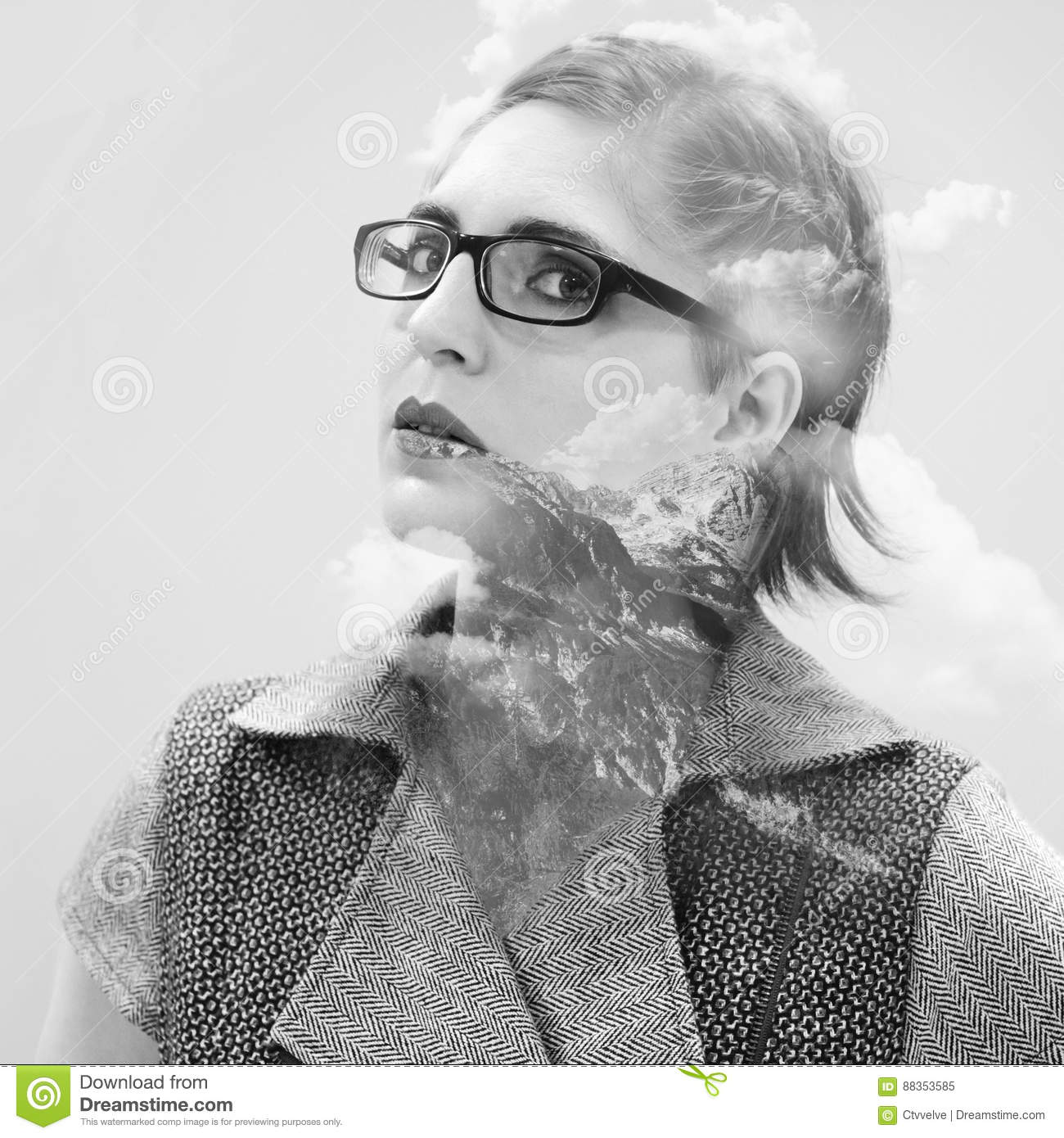 Double exposure portrait of attractive beautiful young woman