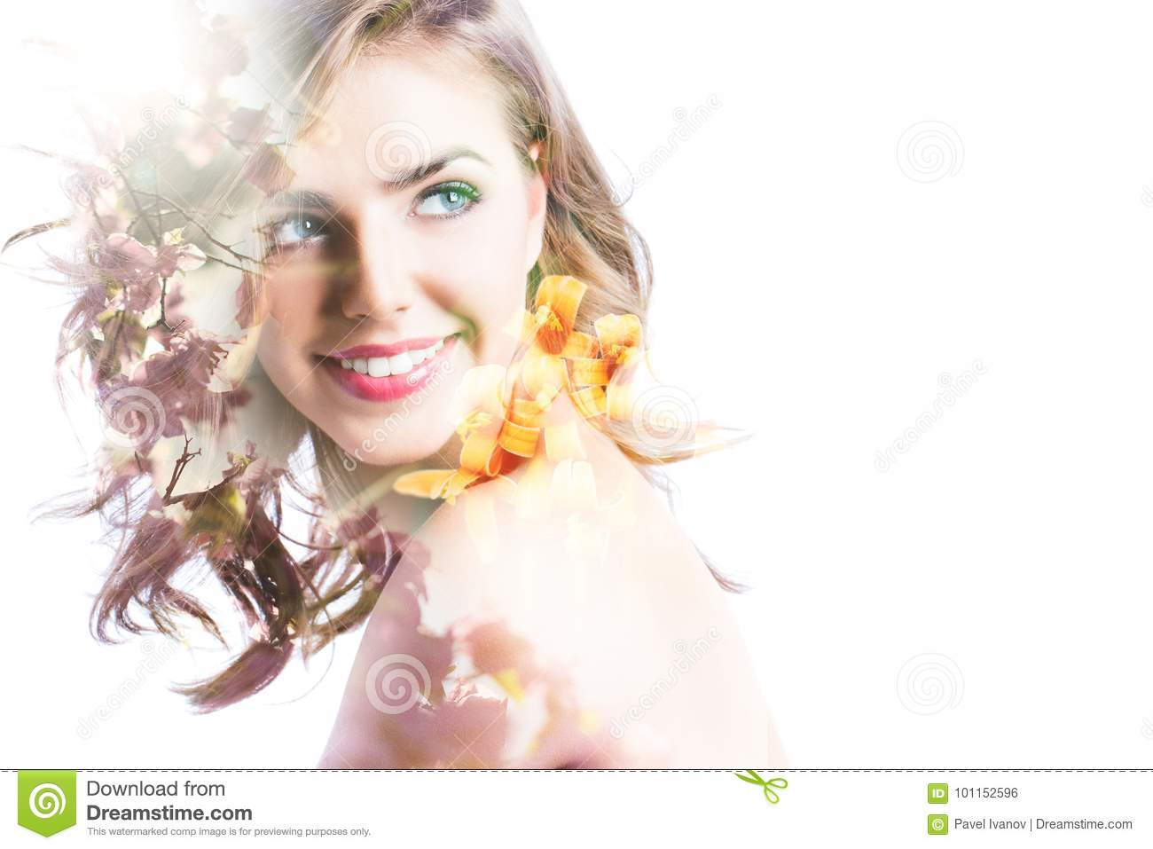 Double exposure portrait of beautiful woman, sunset sea and flowers.