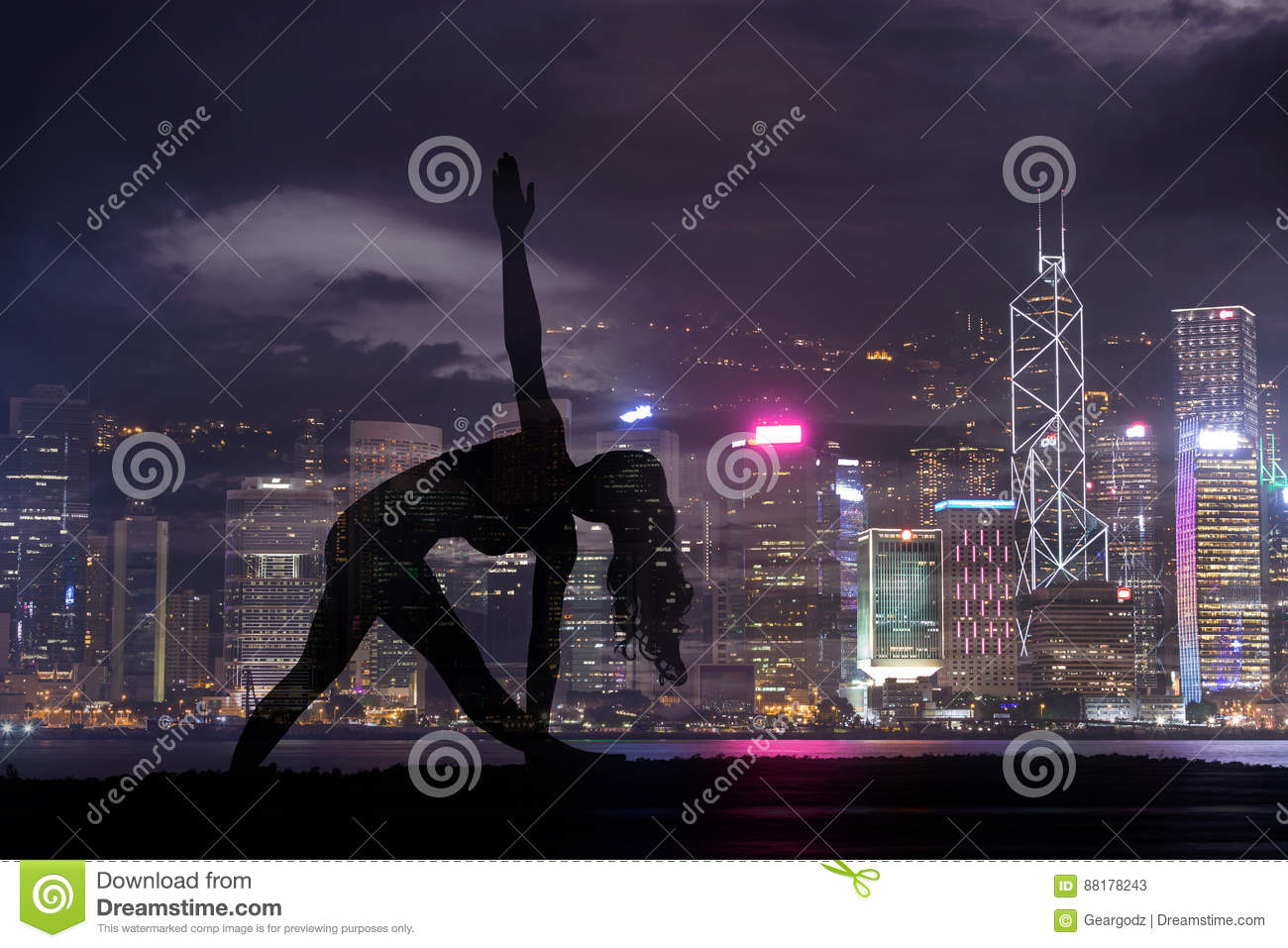 Double exposure of Silhouette yoga woman against Hong Kong city