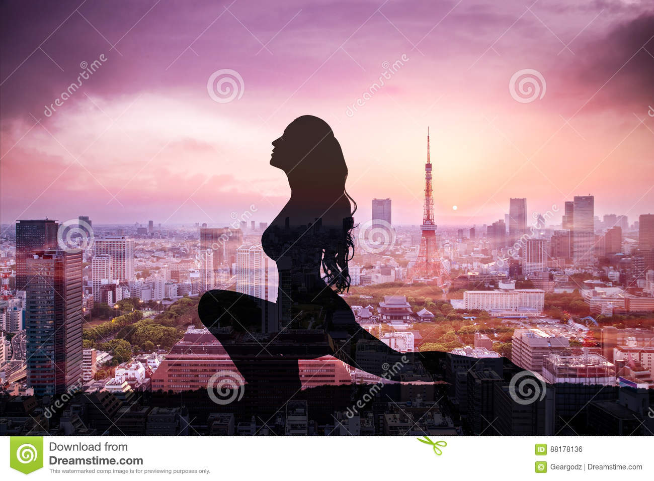 Double exposure of Silhouette yoga woman against Tokyo city