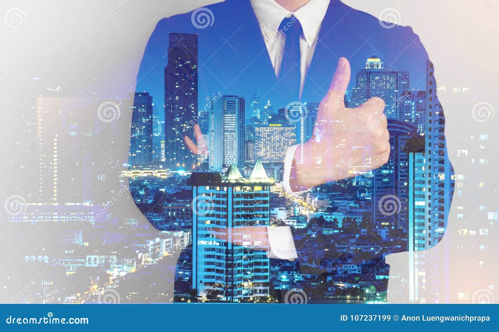 Double exposure of success business man city background.confrim idea business