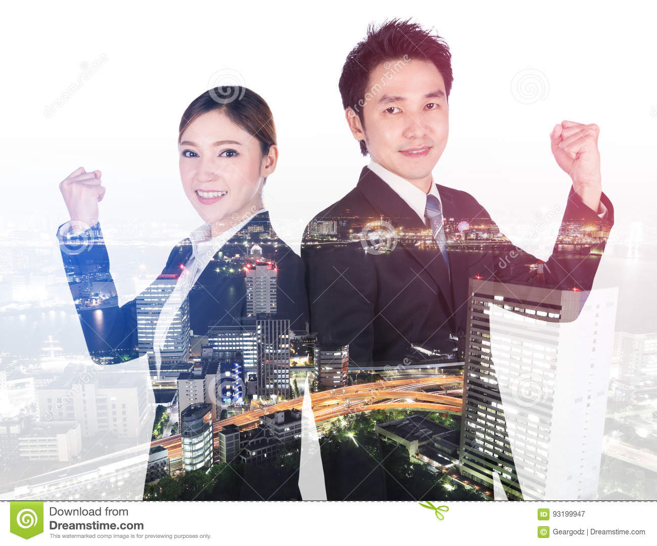 Double exposure of successful business man and woman with arm ra