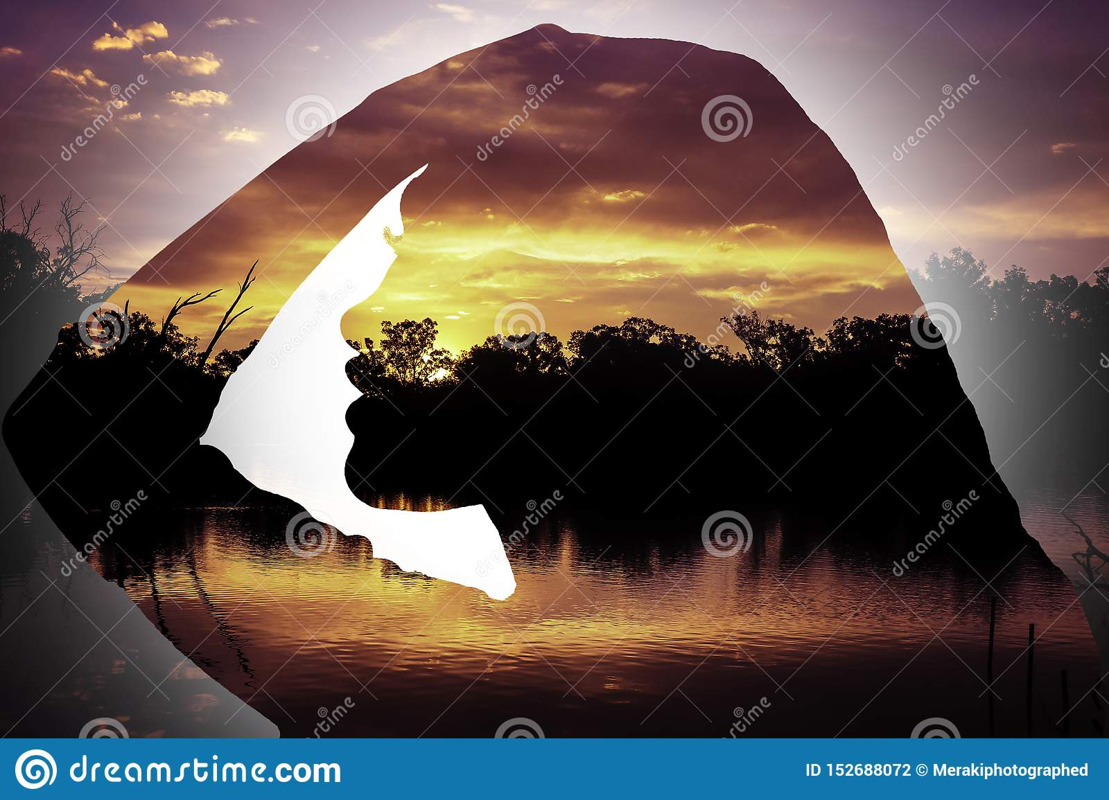 Sunset Silhouette of young girl side profile