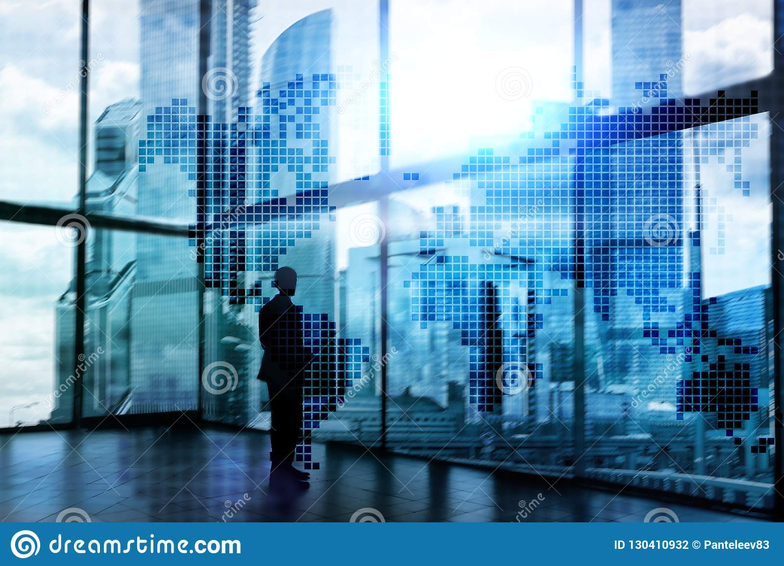 Double exposure world map. Global business and financial market concept