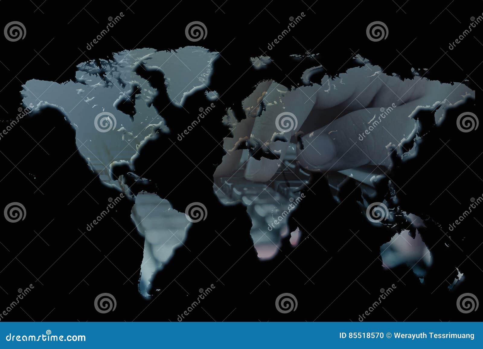 Double exposure world map stock photo  Image of computer