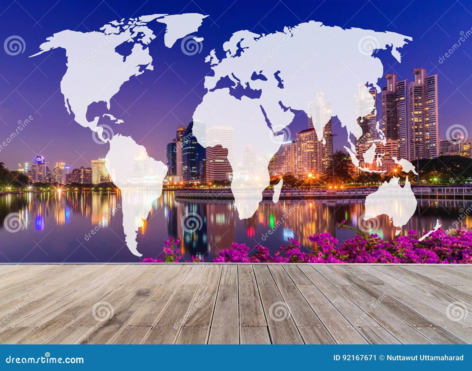 Double Exposure World Map With Wooden Walkway And Skyline Bangkok