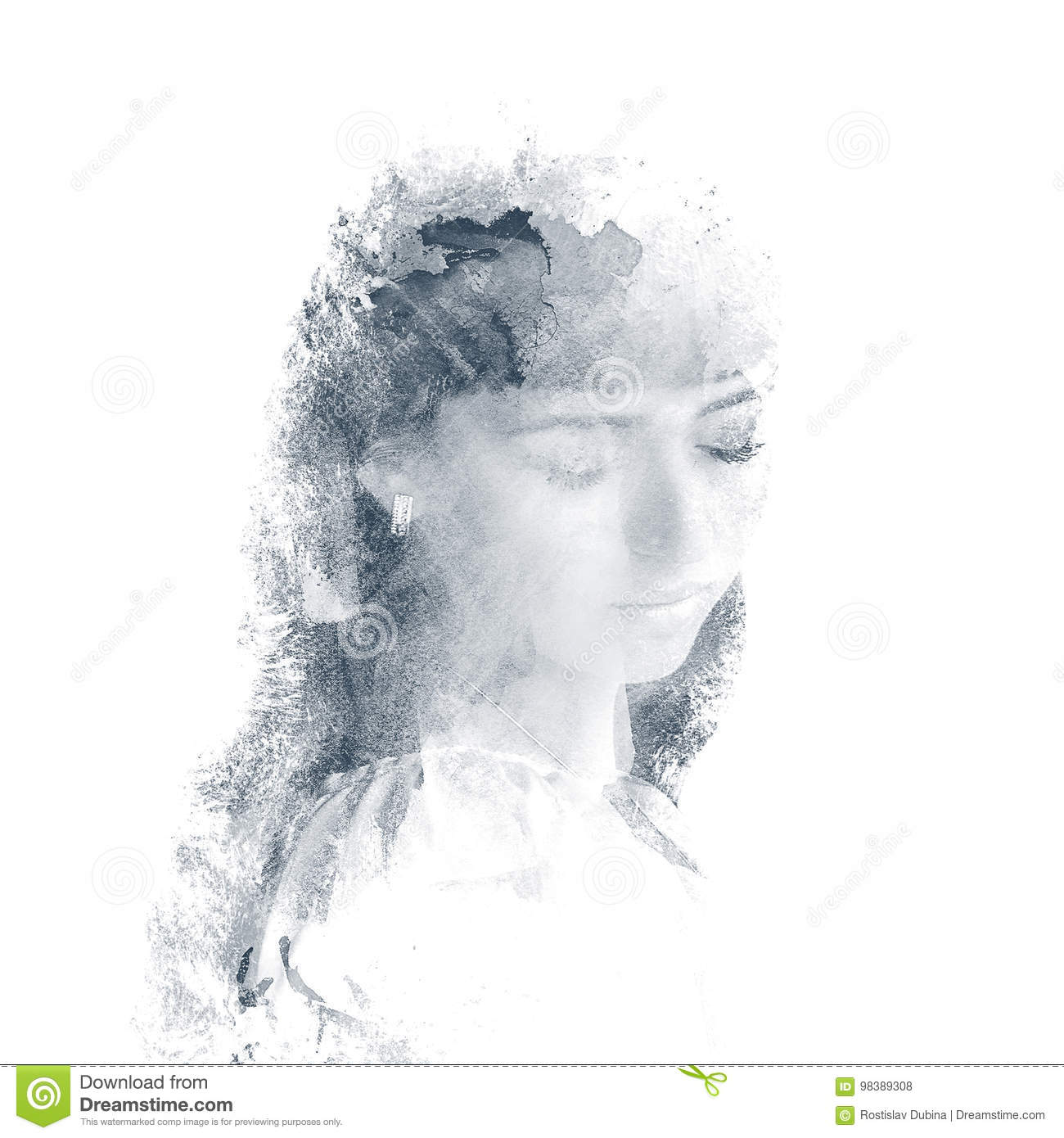 Double exposure of a young beautiful girl. Painted portrait of a female face. Multi-colored picture isolated on white background.