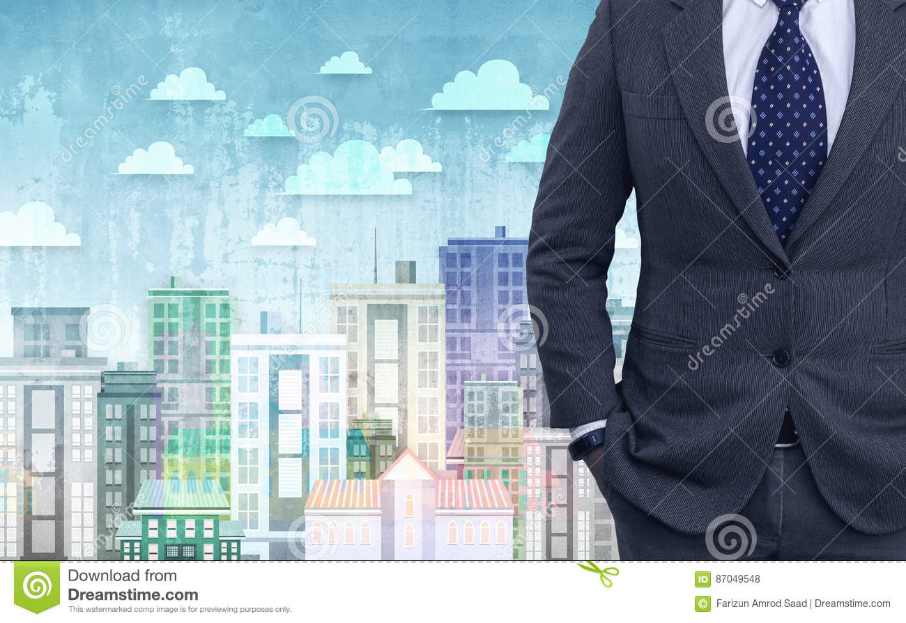 aef54bc9fc3ce Double Exposure Of Young Businessman In Black Suit Stock Photo ...