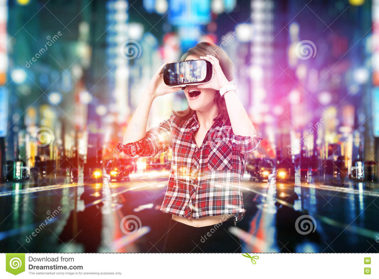 Double exposure, young girl getting experience VR headset, is using augmented reality glasses, being in a virtual