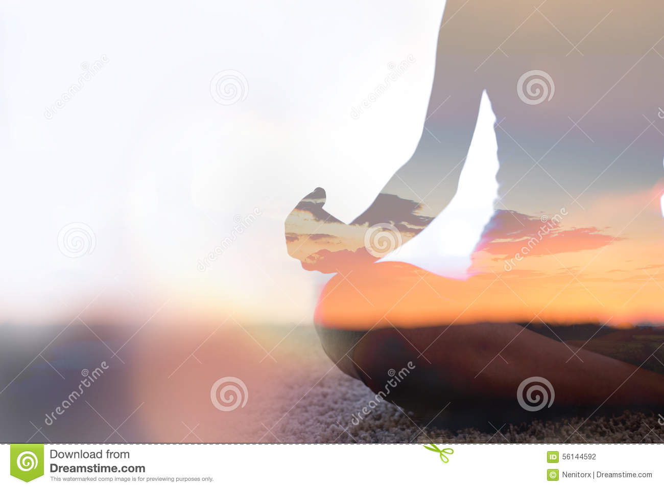 Double exposure of young woman practicing yoga in nature