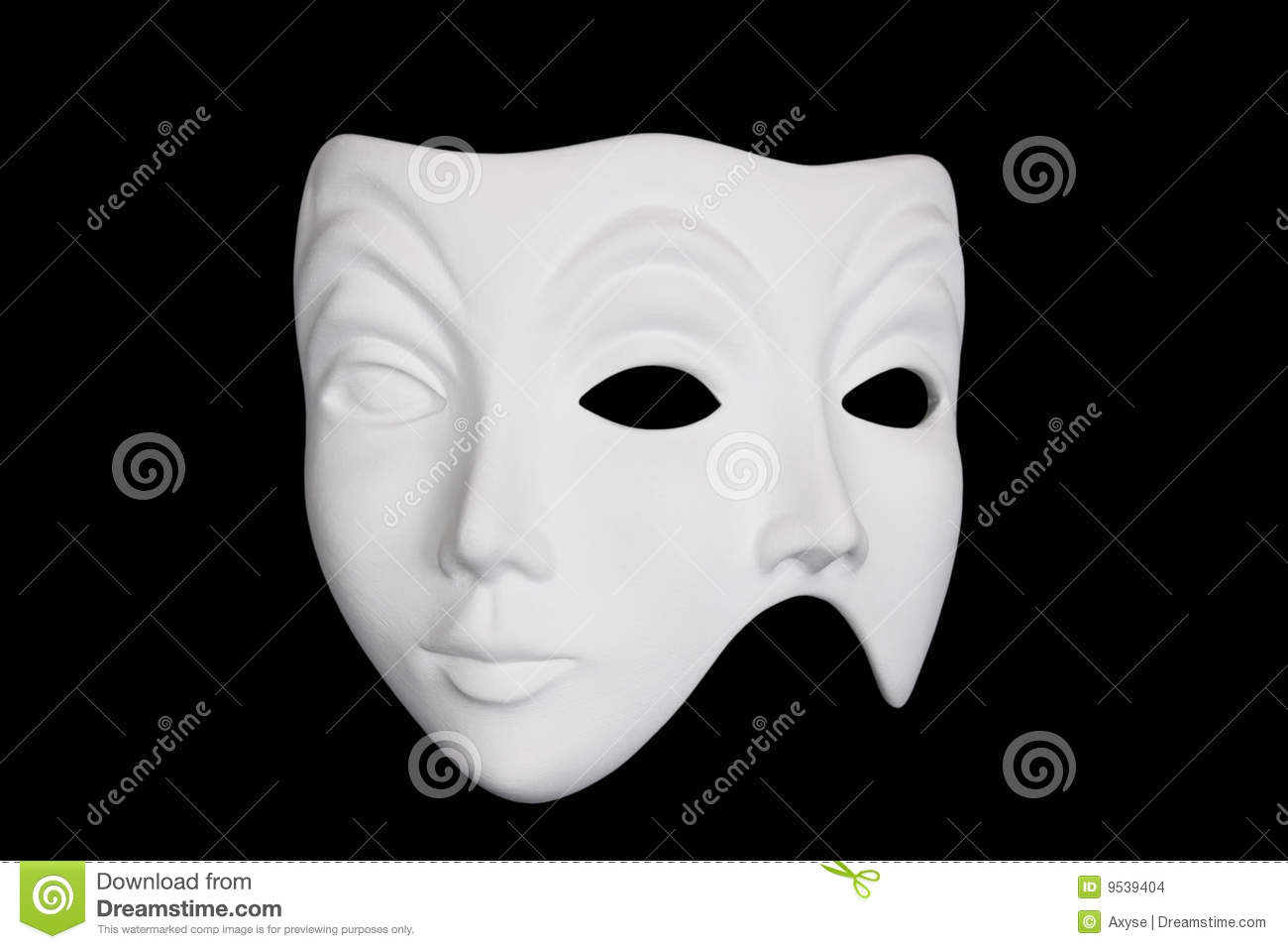 double face white mask isolated over black royalty free stock photography. Black Bedroom Furniture Sets. Home Design Ideas