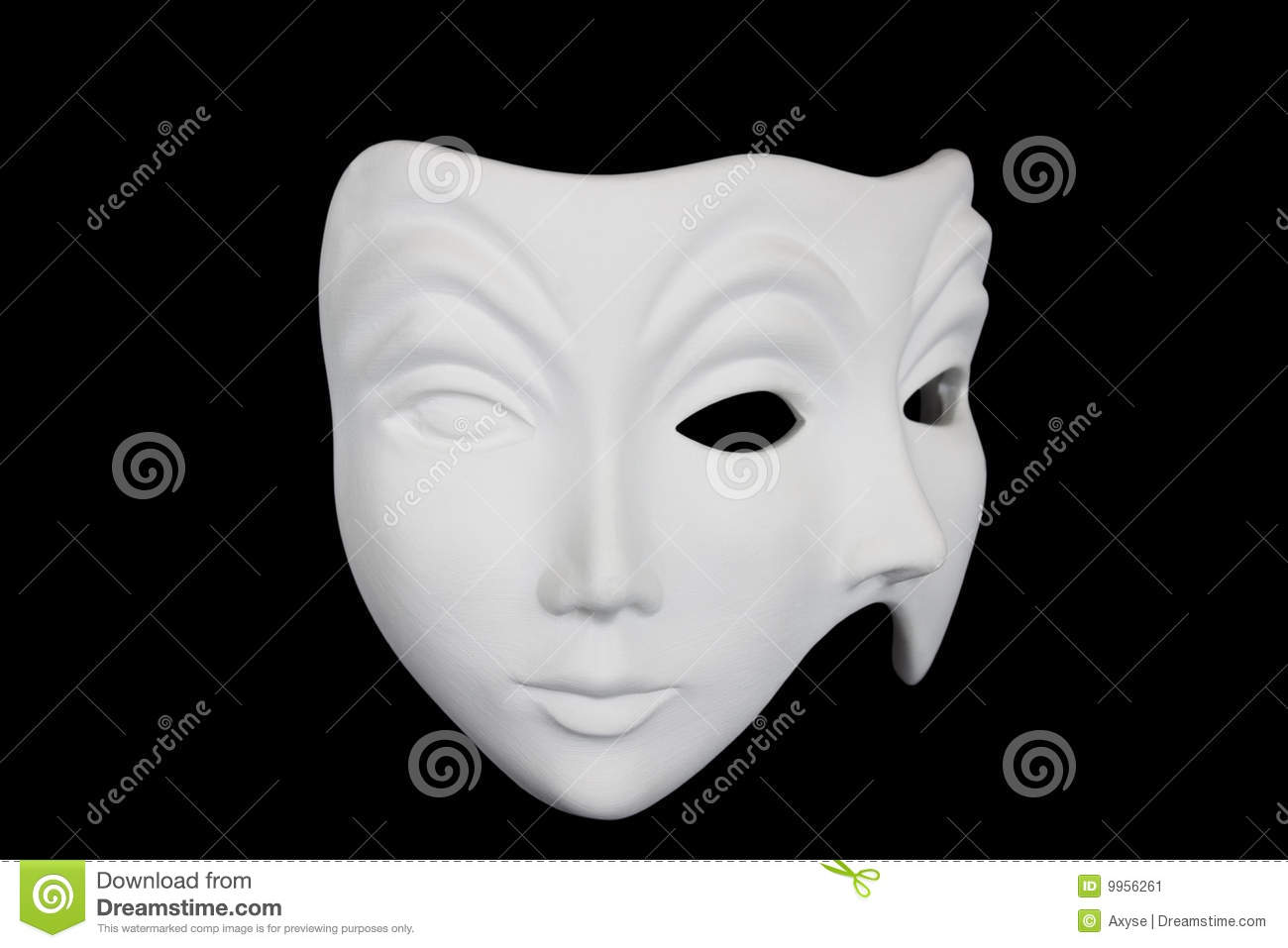 Double Face White Mask Isolated Over Black Royalty-Free ...