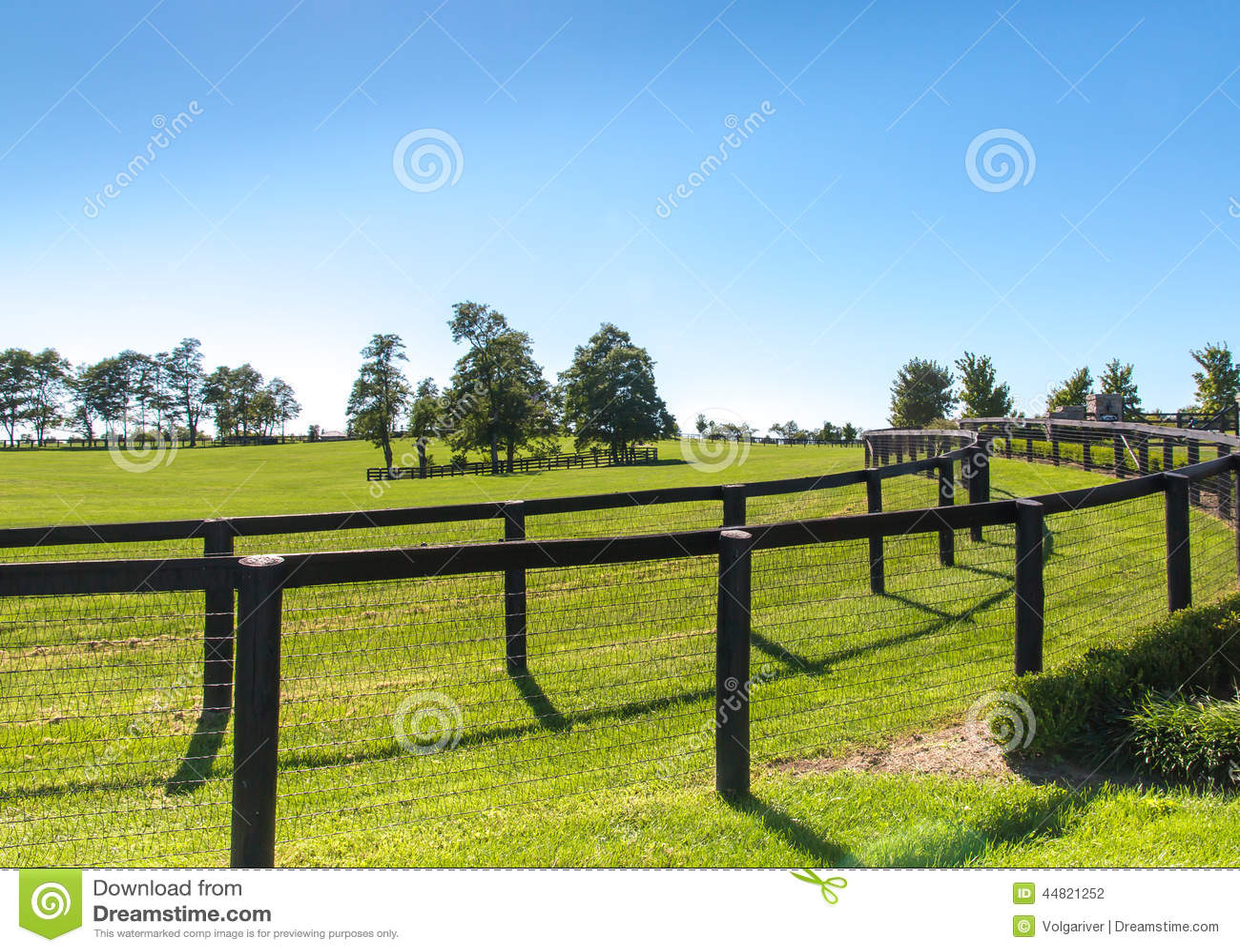 Double Fence At Horse Farm Stock Photo Image 44821252