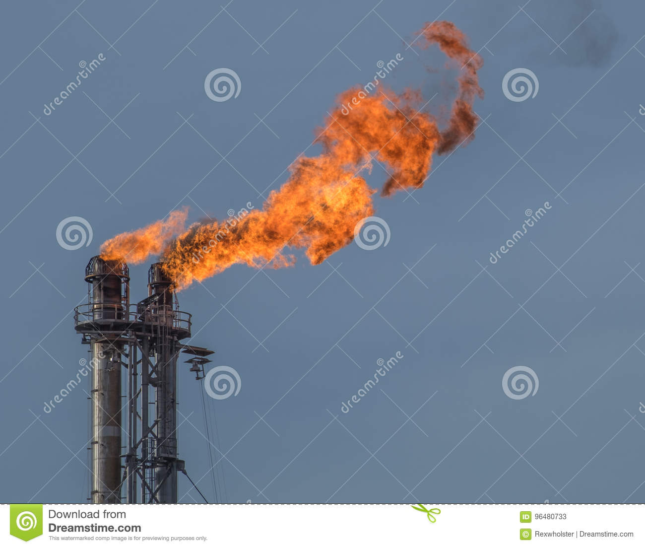 A Double Flare Stack At An East Texas Refinery Stock Image - Image