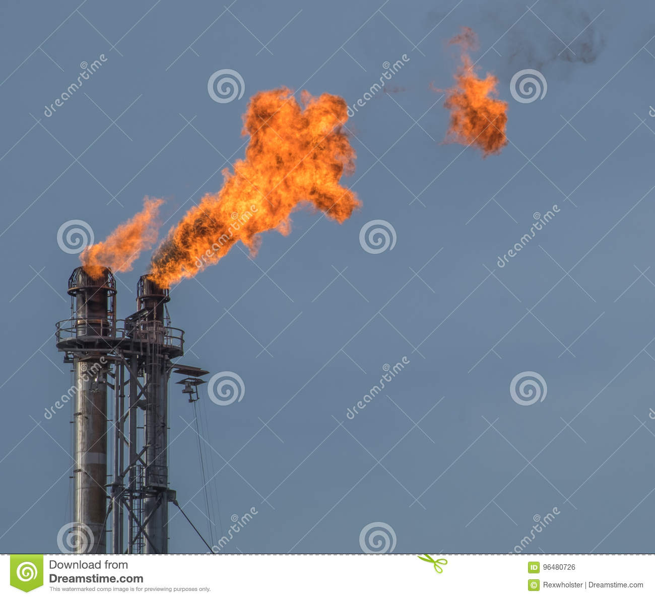 Double Flare Stack At Petroleum Refinery Stock Photo - Image of