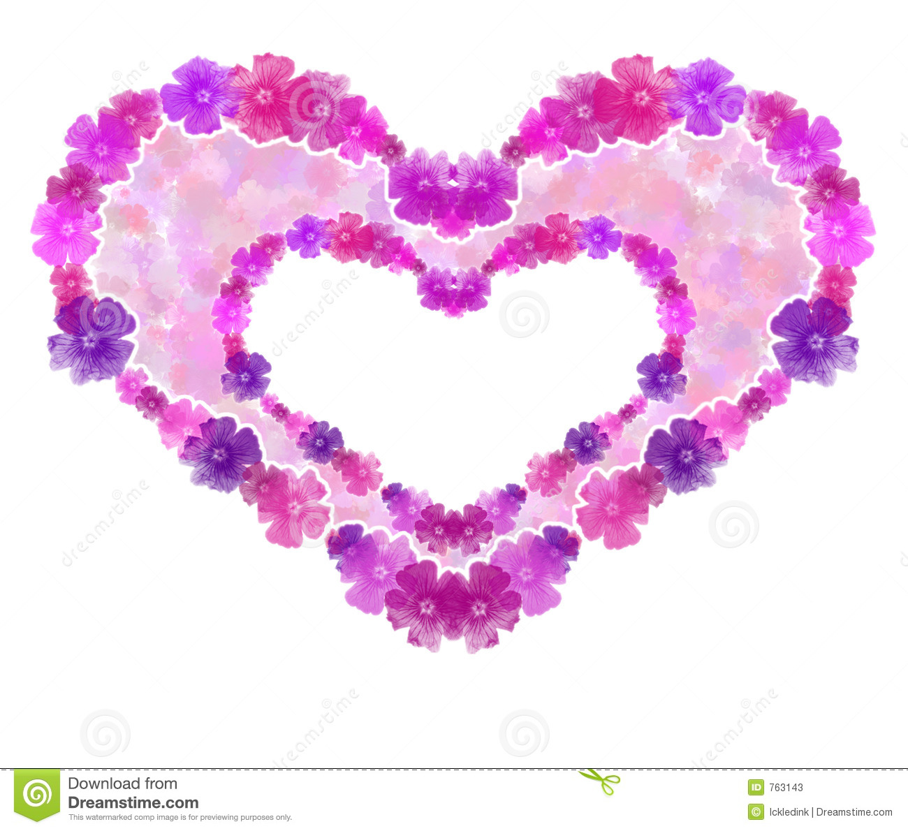 double flower heart background. stock photos  image, Beautiful flower