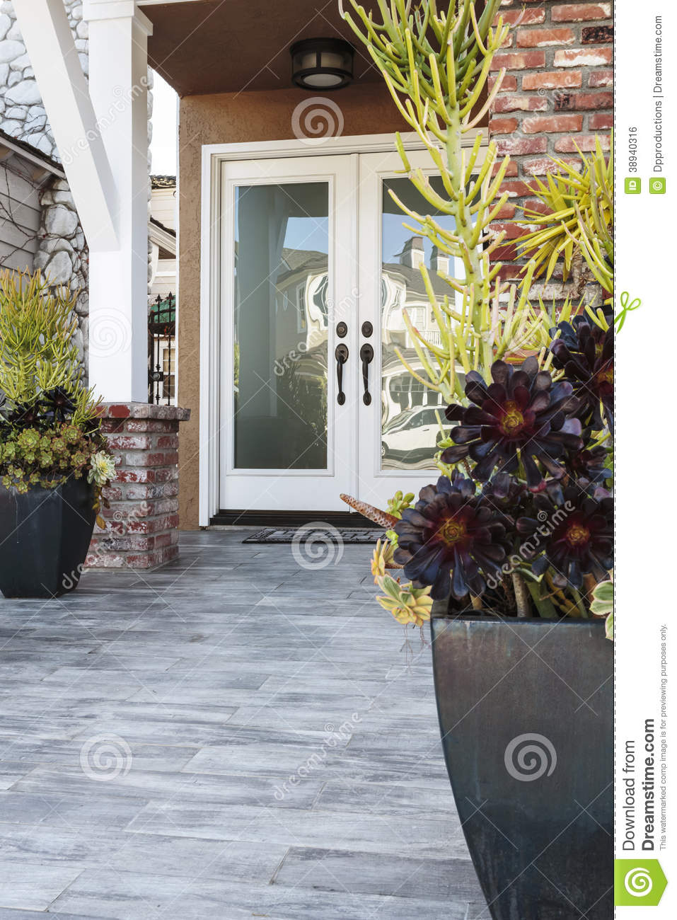 Double Front Door Of A Brick Home Stock Photo Image
