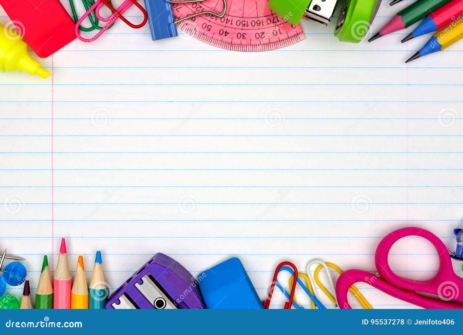 Double frontière de fournitures scolaires sur le fond de papier rayé
