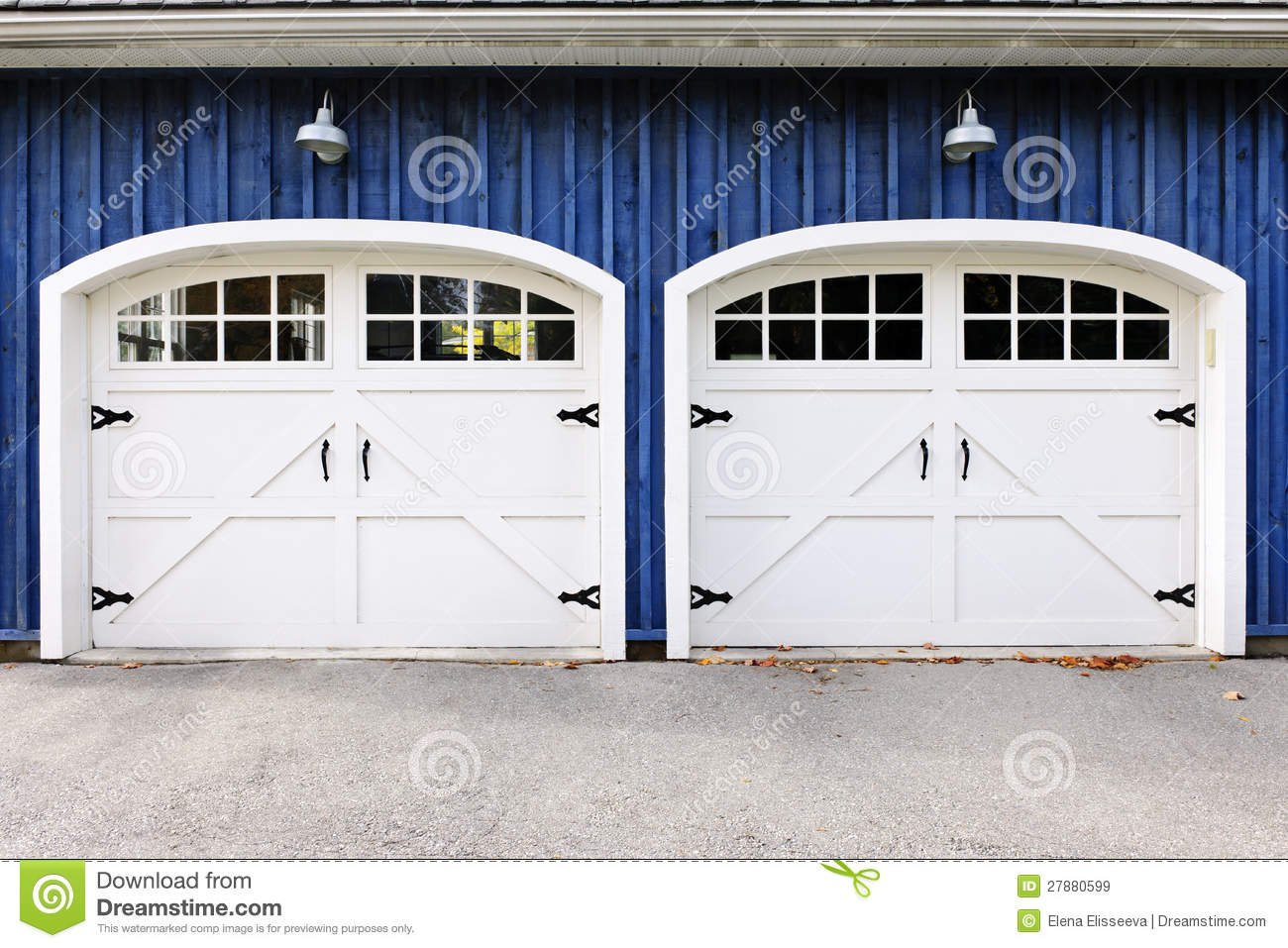 957 #82A229 Two White Garage Doors With Windows On Blue House. wallpaper Double Garage Doors With Windows 38451300