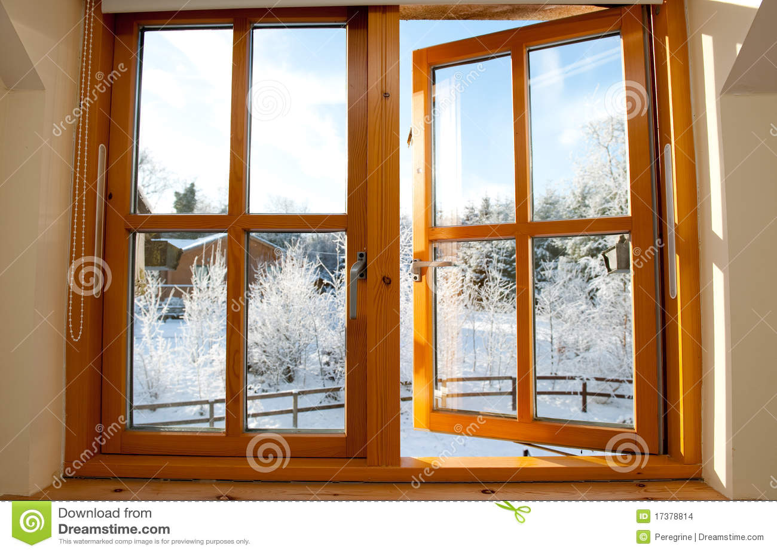 Double Glazed Wooden Window Stock Photo
