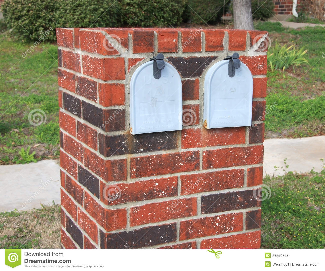 Double Grey Mailboxs Stock Photos - Image: 23250863