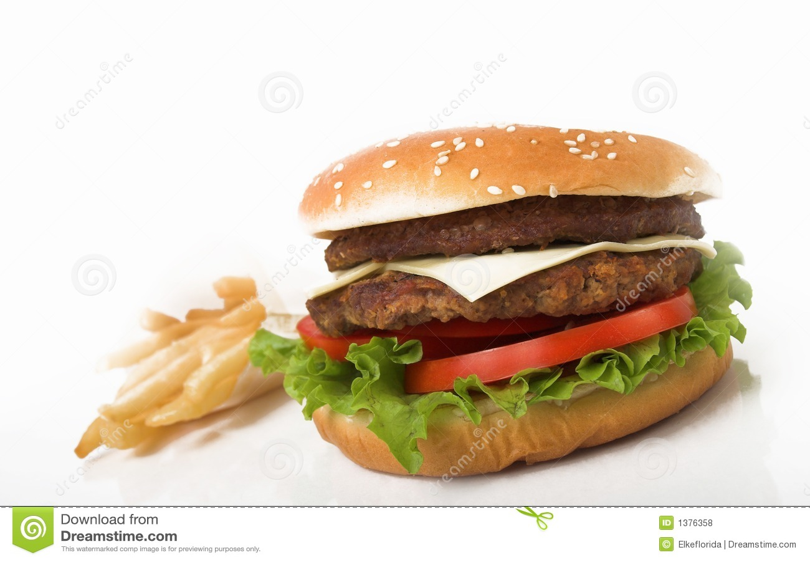 Double hamburger and fries