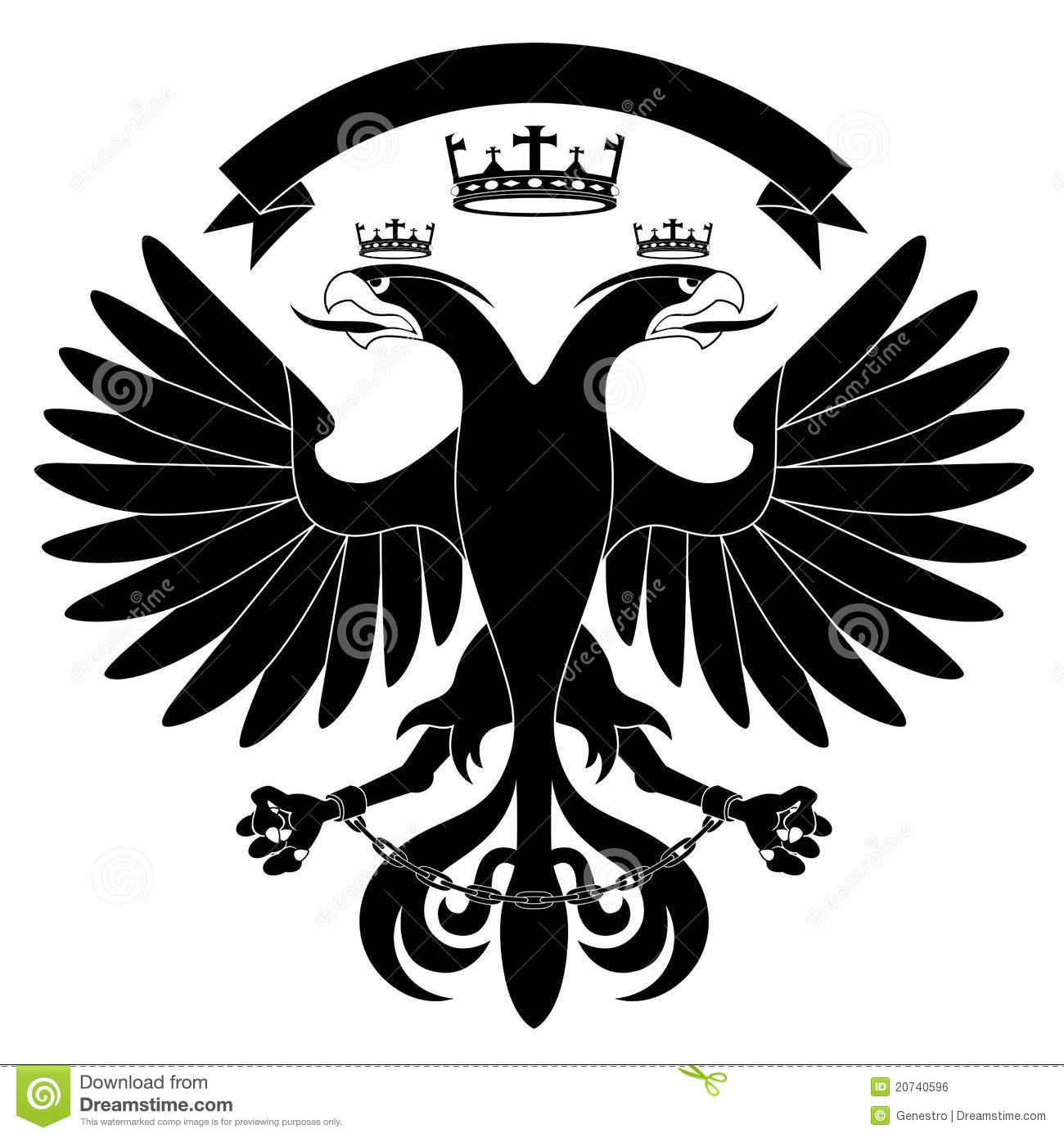 Double Headed Heraldic Eagle With Crown Isolated On White Background