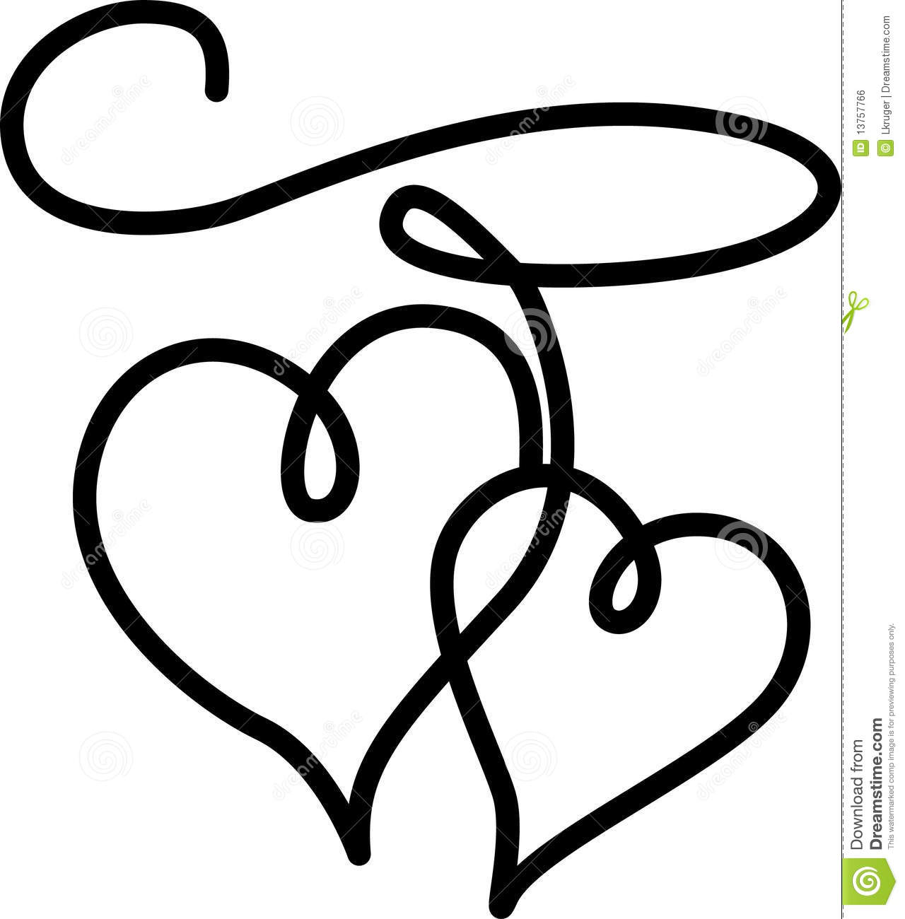 Double Hearts Connected By A Rope Stock Vector