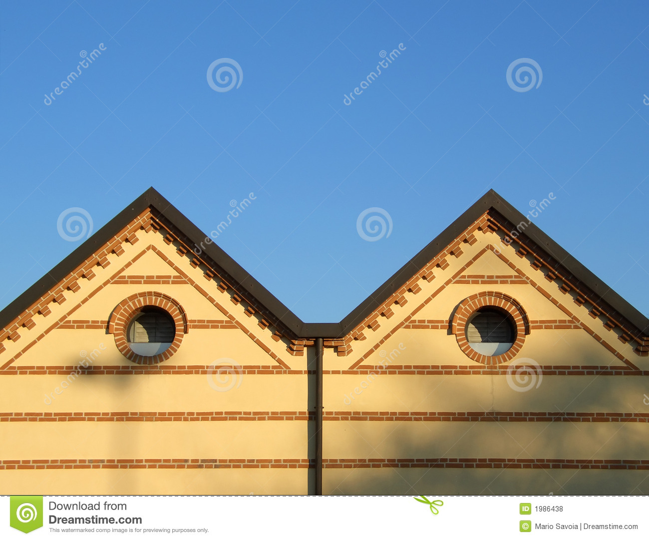Double hip roof and bricks royalty free stock photos for Double hip roof design
