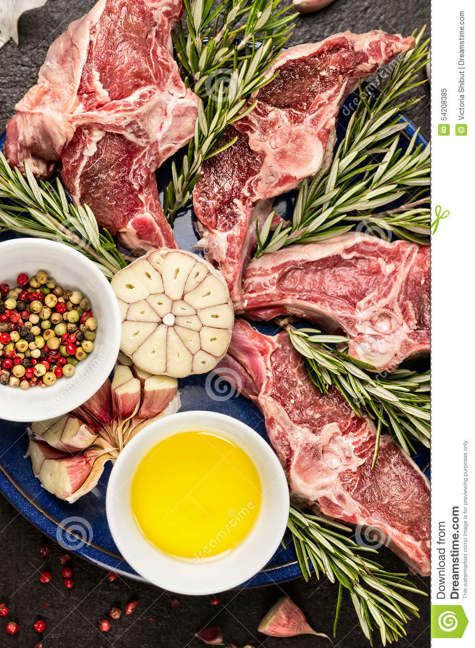 Double Lamb Loin Chops With Oil And Spices Stock Photo - Image ...