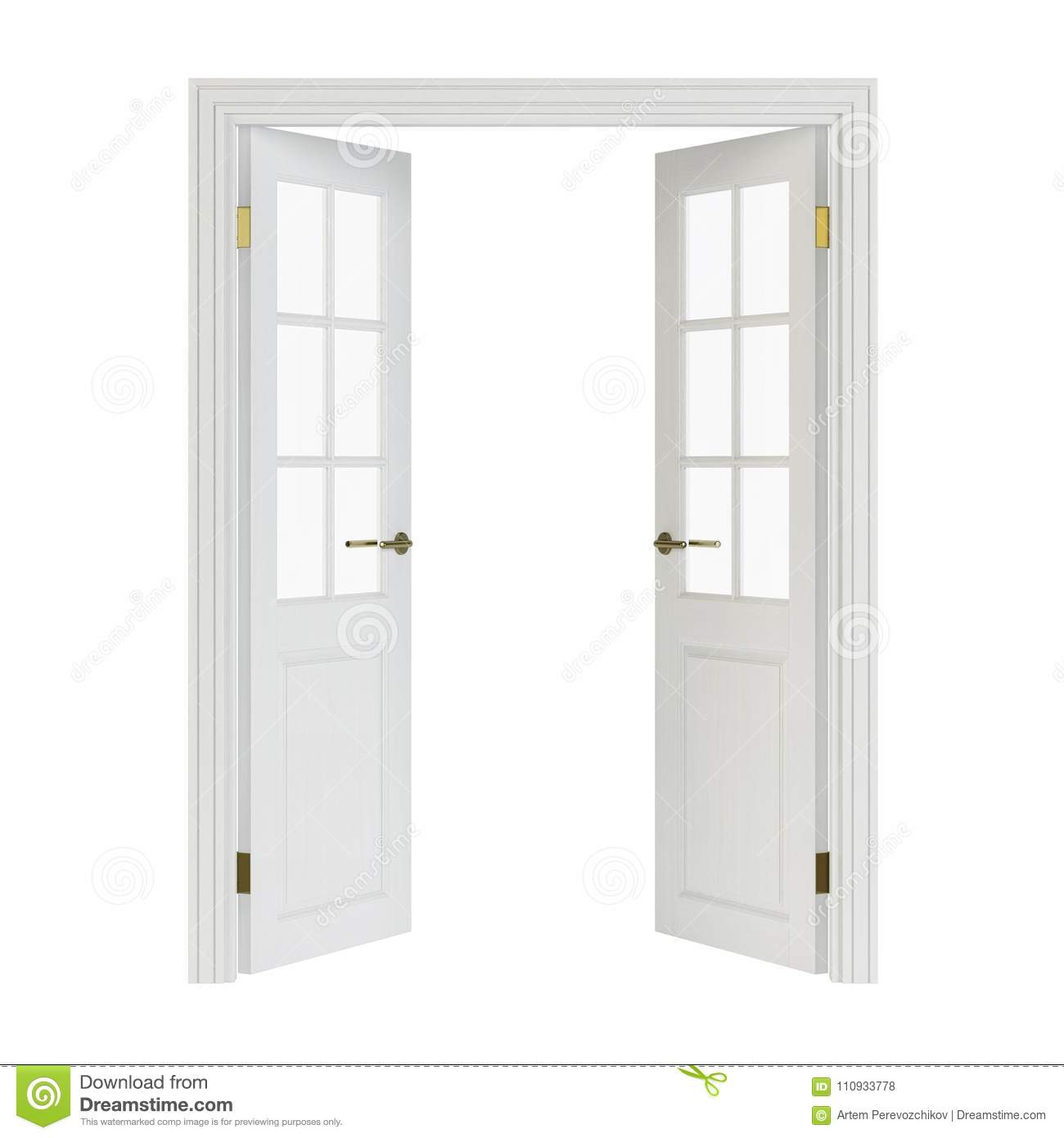 Double Leaf Doors With Glass 3d Rendering Stock Illustration
