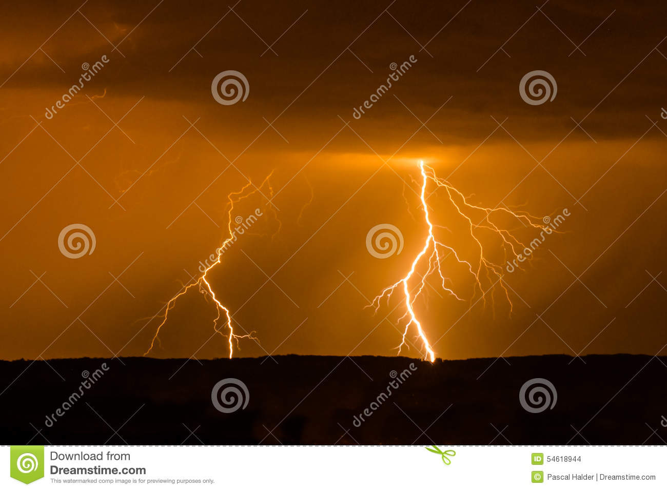 Double lightning during storm