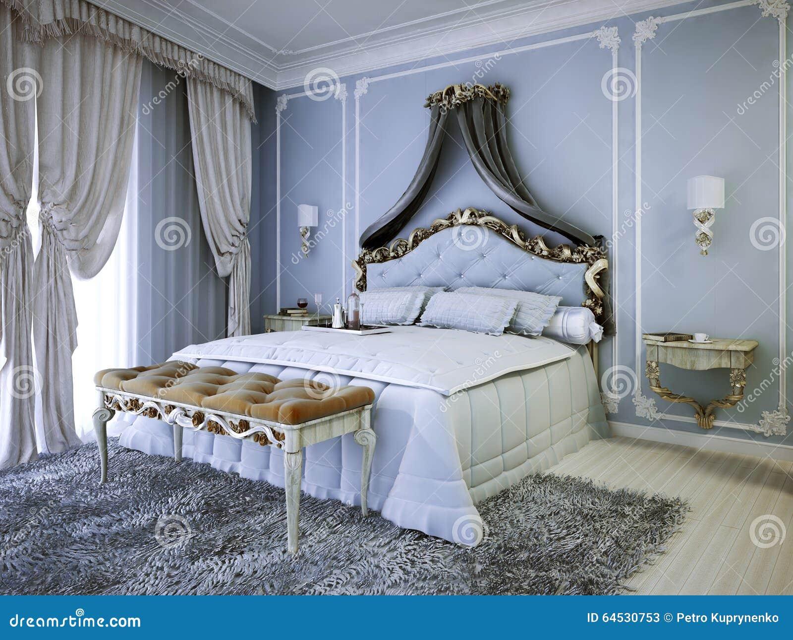 Double lit cher avec la tête de lit de tapisserie d ameublement