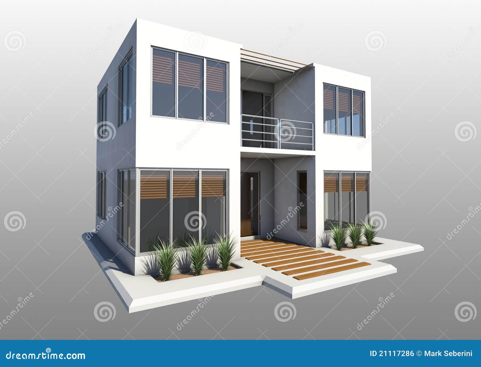 Double maison moderne d 39 histoire illustration stock for Double maison