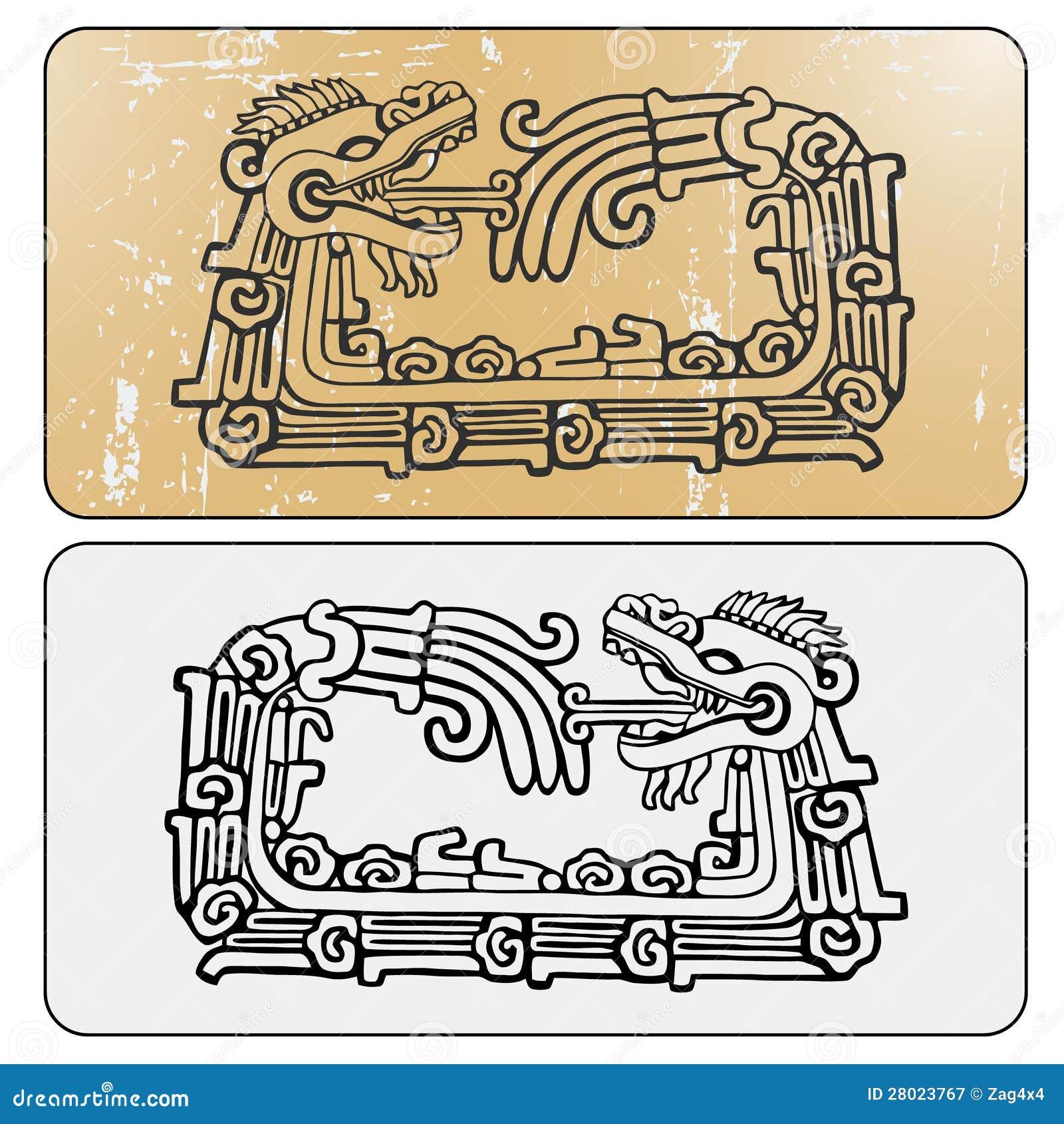 Quetzalcoatl ouroboros, maya symbolic round snake, eating its own tail ...