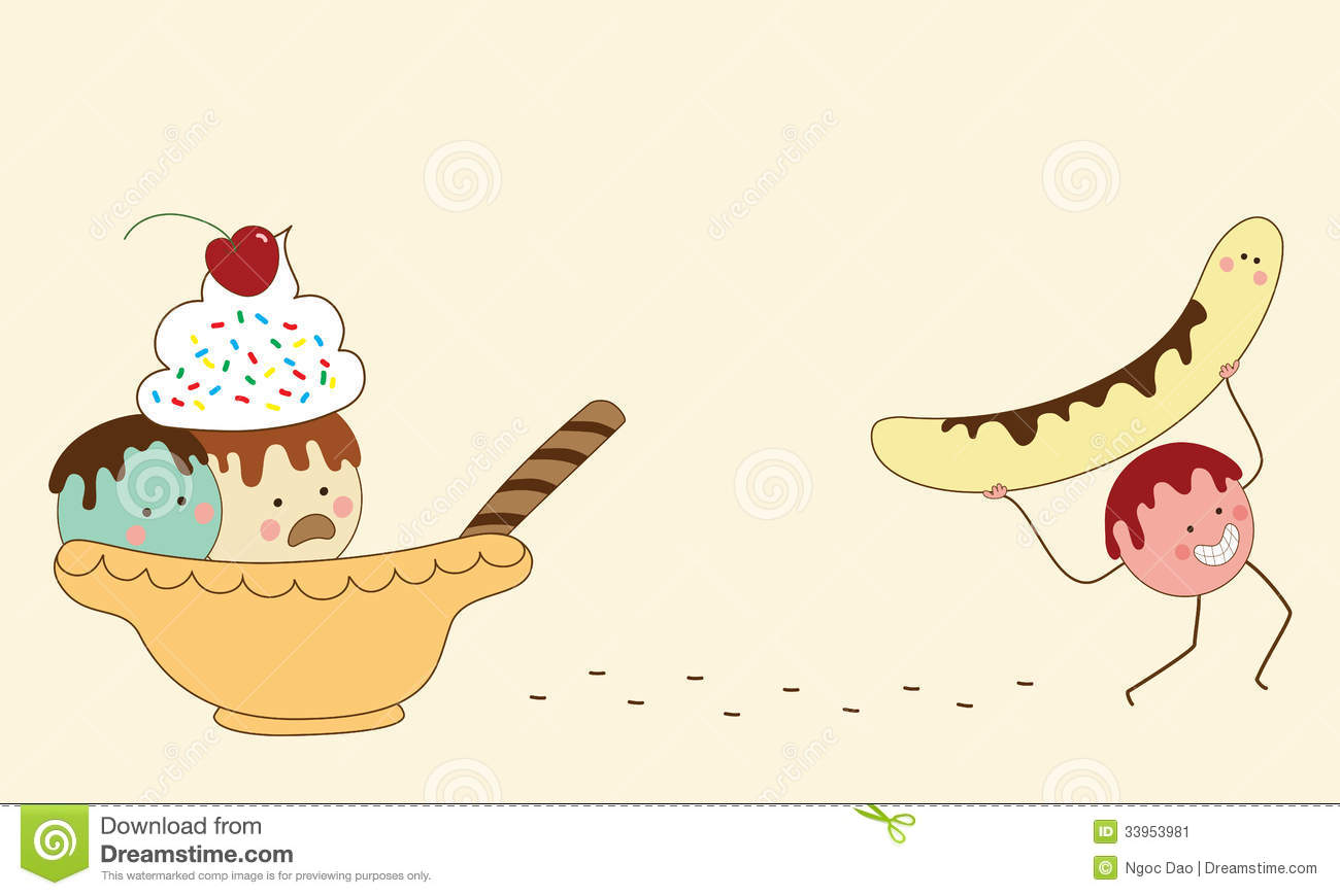 Cartoon illustration of banana split double meaning.