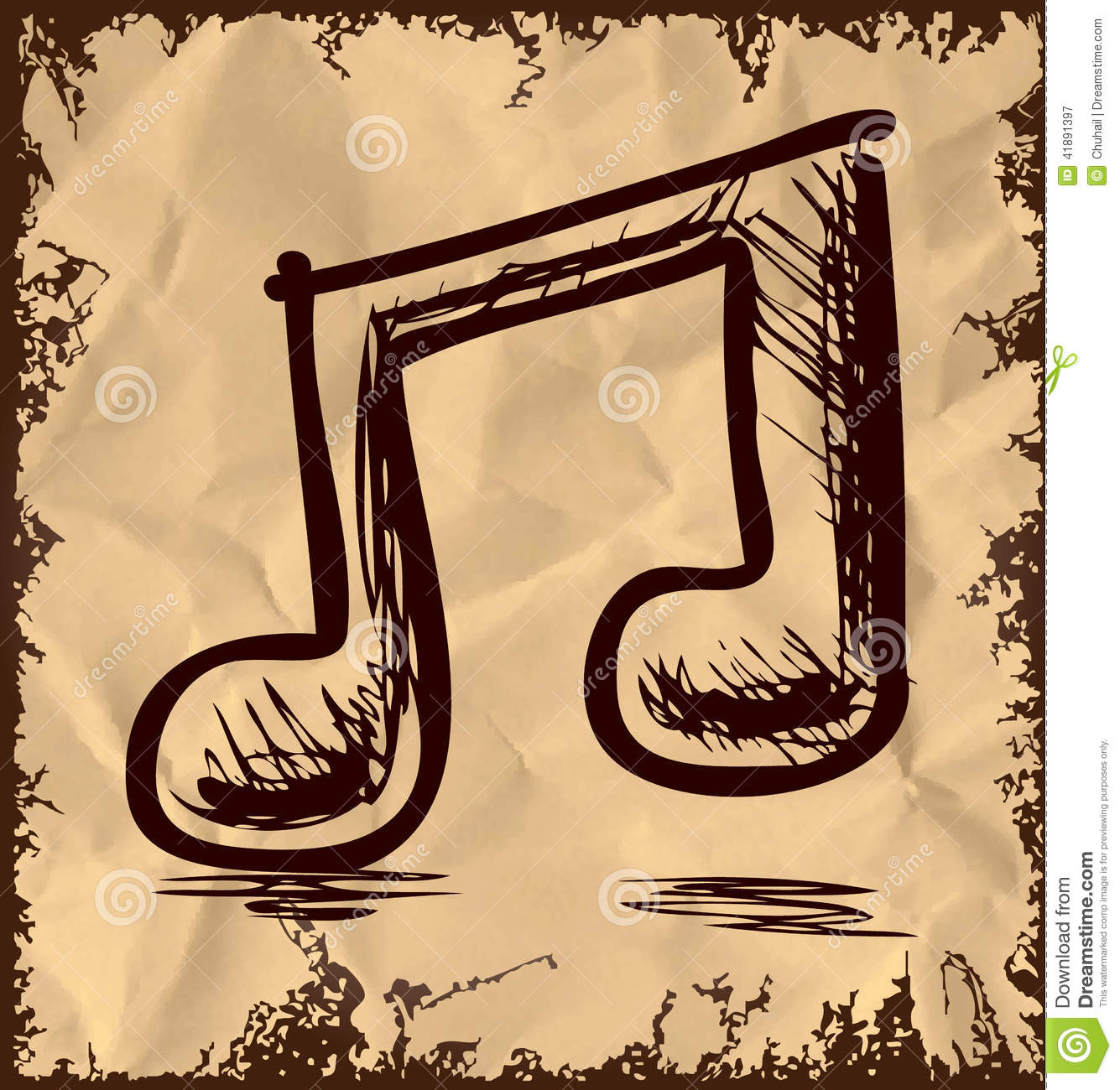 Double Music Note On Vintage Background Stock Image - Image of ...
