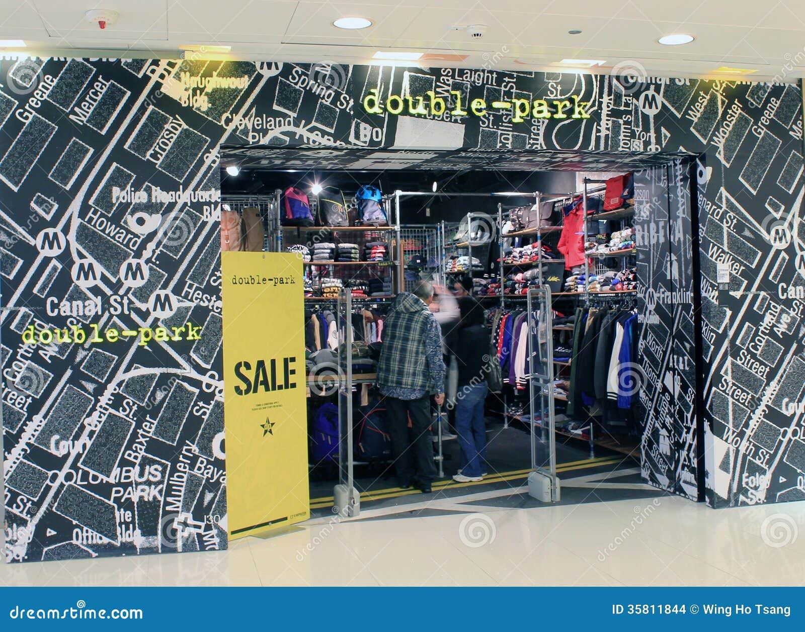 Double-park shoppar i Hong Kong
