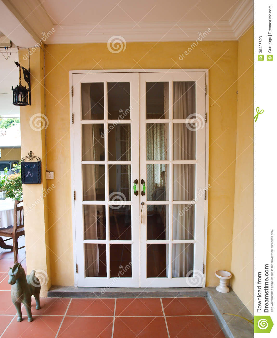 Double Patio White French Doors With Windows On Yellow