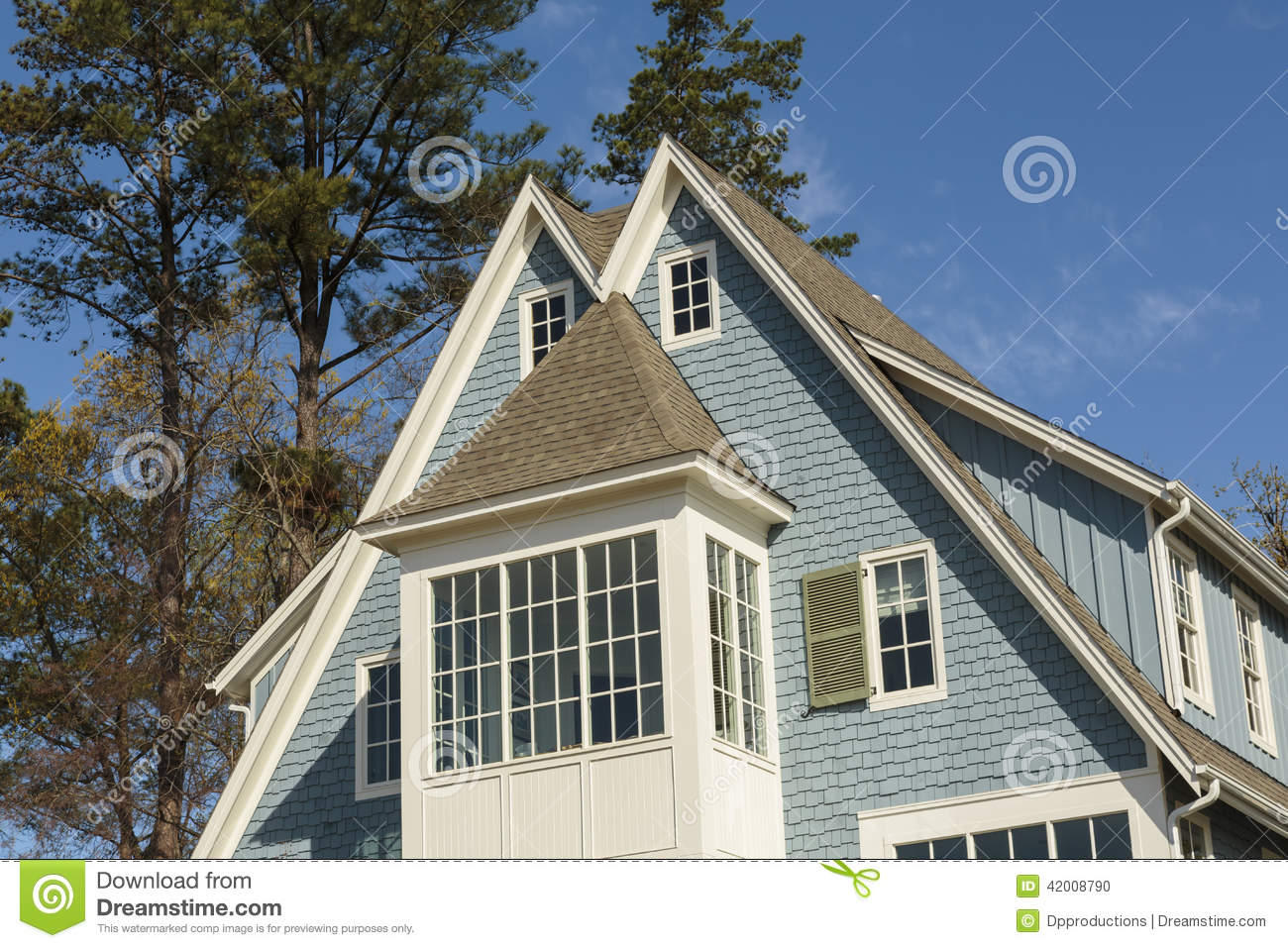 Double peaked roof of blue family home stock photo image 42008790 - Houses attic families children ...